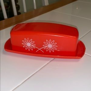 Vintage red plastic butter dish